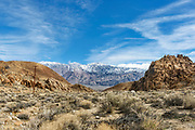 Winter Landscape photographs Alabama Hills, Inyo Mountains and the Sierra Mountains, CA, USA