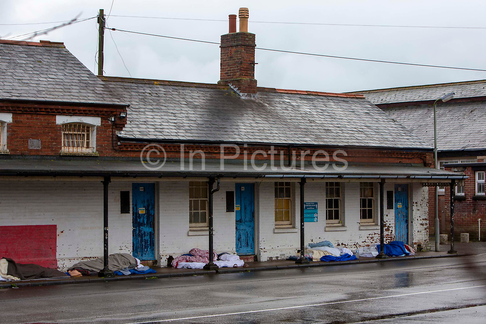 Asylum seekers currently held inside Napier Barracks have been sleeping outside a accommodation block in sub-zero temperatures as part of a protest against long delays in processing their asylum claims and the poor conditions they are subjected to inside the holding centre on the 12th of January 2021, Folkestone, United Kingdom. Over 400 asylum seekers are being kept at Napier Barracks in unsuitable, cold accommodation, they are experiencing mental health issues as well as being vulnerable to health conditions including COVID-19.