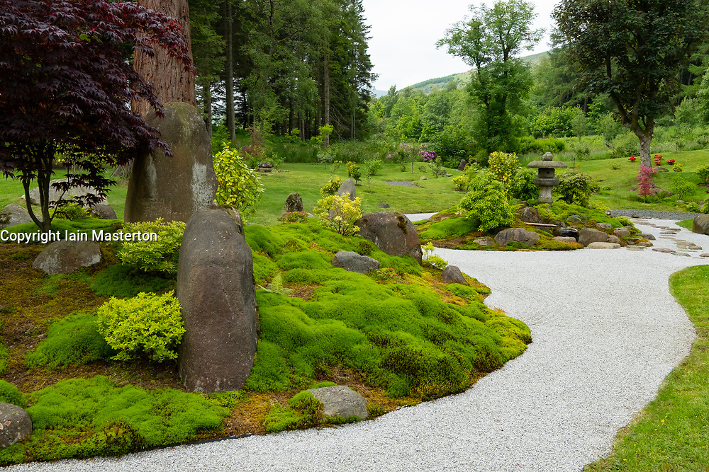 View of the dry garden at the new Japanese Garden at Cowden in Dollar, Clackmannanshire, Scotland, UK