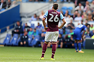 John Terry, the Aston Villa captain looks on. .EFL Skybet championship match, Cardiff city v Aston Villa at the Cardiff City Stadium in Cardiff, South Wales on Saturday 12th August 2017.<br /> pic by Andrew Orchard, Andrew Orchard sports photography.