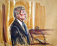 ©PRISCILLA COLEMAN ITV NEWS 17.11.03.SUPPLIED BY: PHOTONEWS SERVICE LTD OLD BAILEY.PIC SHOWS: DC JONATHAN TAYLOR GIVING EVIDENCE IN COURT 0NE AT THE OLD BAILEY TODAY IN THE TRIAL OF IAN HUNTLEY AND MAXINE CARR. THEY ARE ON TRIAL FOR THEIR RESPECTIVE PARTS IN THE MURDERS OF HOLLY WELLS AND JESSICA CHAPMAN-SEE STORY.ILLUSTRATION: PRISCILLA COLEMAN ITV NEWS