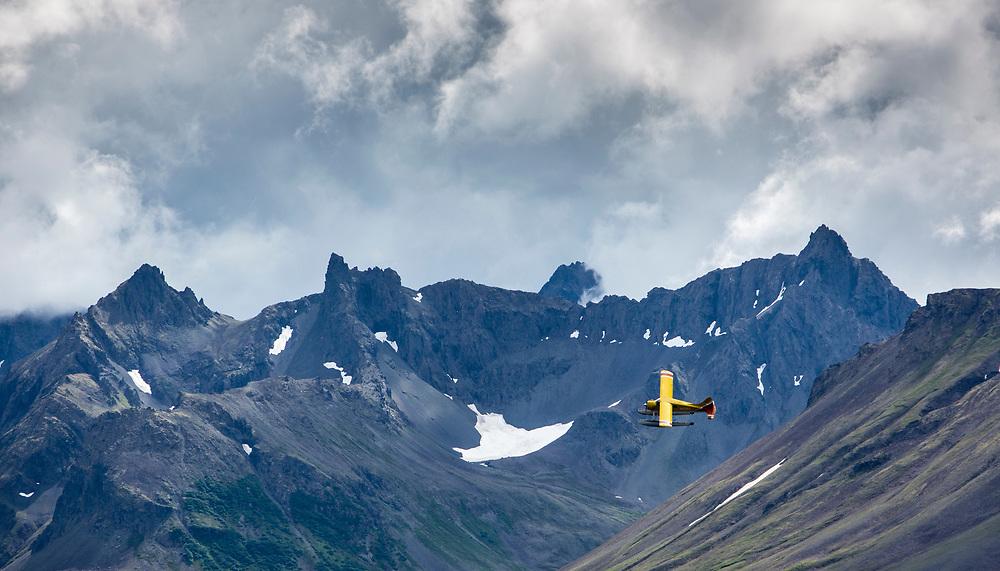 Beaver float plane over Kisaralik Lake, Alaska