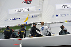 Ian Williams watching Hansen in the Petit Final. Williams now leads the World Match Racing Tour. Photo: Chris Davies/WMRT