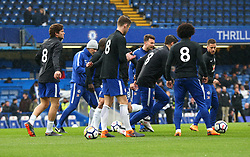 April 8, 2018 - London, England, United Kingdom - Chelsea players wearing number 8 respect of former player Ray Wilkins.during English Premier League match between Chelsea and West Ham United at Stamford Bridge, London, England on 08 April 2018. (Credit Image: © Kieran Galvin/NurPhoto via ZUMA Press)
