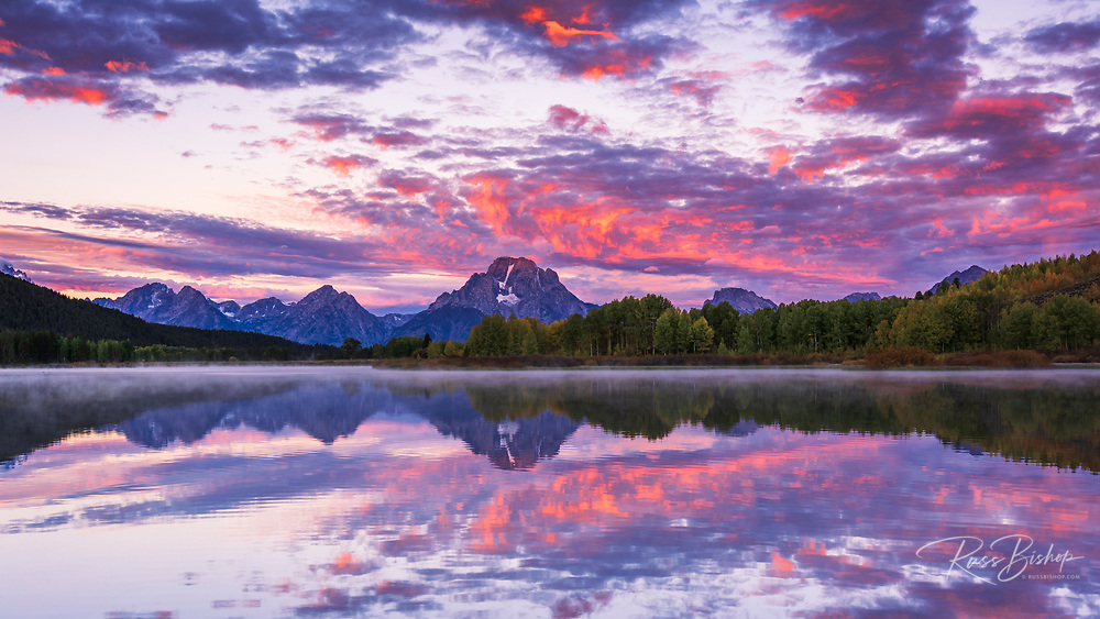 Dawn light over the Tetons from Oxbow Bend, Grand Teton National Park, Wyoming USA