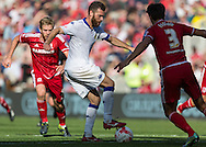 Leeds United FC striker Mirco Antenucci   retains the ball during the Sky Bet Championship match between Middlesbrough and Leeds United at the Riverside Stadium, Middlesbrough, England on 27 September 2015. Photo by George Ledger.