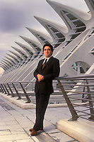 España. Comunidad Valenciana. Valencia.<br /> Retrato del arquitecto Santiago Calatrava en la Ciudad de las Artes y las Ciencias.<br /> <br /> © JOAN COSTA