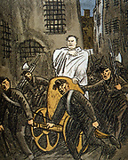 Triumphy of Mussolini in Italy, 1925. Cartoon showing the Italian Fascist dictator Benito Mussolini (1883-1945) as Caesar, proclaiming that untill all his enemies were defeated there could be no truly free Italy.