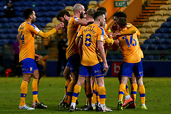 Mansfield Town players celebrate their second goal - Mandatory by-line: Ryan Crockett/JMP - 17/02/2021 - FOOTBALL - One Call Stadium - Mansfield, England - Mansfield Town v Bolton Wanderers - Sky Bet League Two