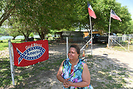 Maria Villarreal at her Val Verde Texas county home directly along the Rio Grande River that seperates the United States and Mexico. If the border wall is built, Villarreal could lose her home and land.