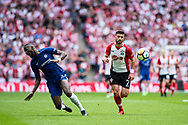 Chelsea (2) Antonio Rüdiger, Southampton (7) Shane Long during the The FA Cup match between Chelsea and Southampton at Wembley Stadium, London, England on 22 April 2018. Picture by Sebastian Frej.