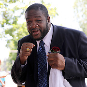 CANASTOTA, NY - JUNE 14: Boxer Riddick Bowe poses after the parade at the International Boxing Hall of Fame induction Weekend of Champions events on June 14, 2015 in Canastota, New York. (Photo by Alex Menendez/Getty Images) *** Local Caption *** Riddick Bowe