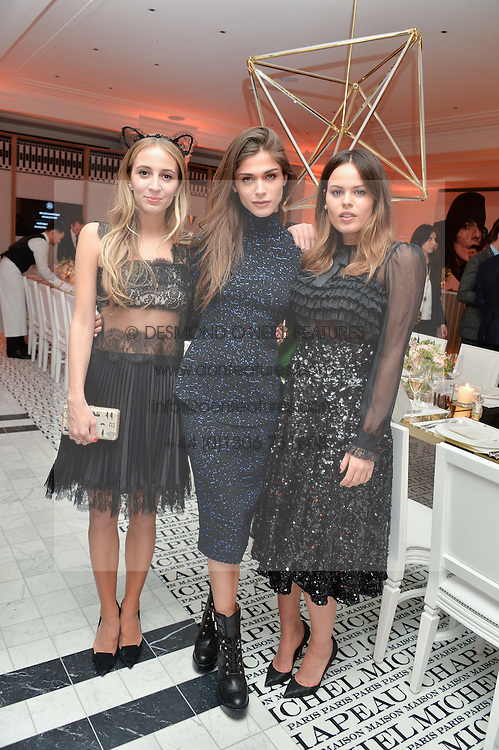 Left to right, HARLEY VIERA NEWTON, ELISA SEDNAOUI and ATLANTA DE CADENET at a dinner to celebrate the exclusive Capsule collection: Maison Michel by Karl Lagerfeld held at Selfridges, 400 Oxford Street, London on 23rd February 2015.