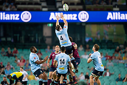 March 9, 2019 - Sydney, NSW, U.S. - SYDNEY, NSW - MARCH 09: Waratahs player Jed Holloway (4) goes up for the ball at round 4 of Super Rugby between NSW Waratahs and Queensland Reds on March 09, 2019 at The Sydney Cricket Ground, NSW. (Photo by Speed Media/Icon Sportswire) (Credit Image: © Speed Media/Icon SMI via ZUMA Press)