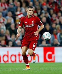 """Liverpool's Dejan Lovren during the Carabao Cup, Third Round match at Anfield, Liverpool. PRESS ASSOCIATION Photo. Picture date: Wednesday September 26, 2018. See PA story SOCCER Liverpool. Photo credit should read: Martin Rickett/PA Wire. RESTRICTIONS: EDITORIAL USE ONLY No use with unauthorised audio, video, data, fixture lists, club/league logos or """"live"""" services. Online in-match use limited to 120 images, no video emulation. No use in betting, games or single club/league/player publications."""