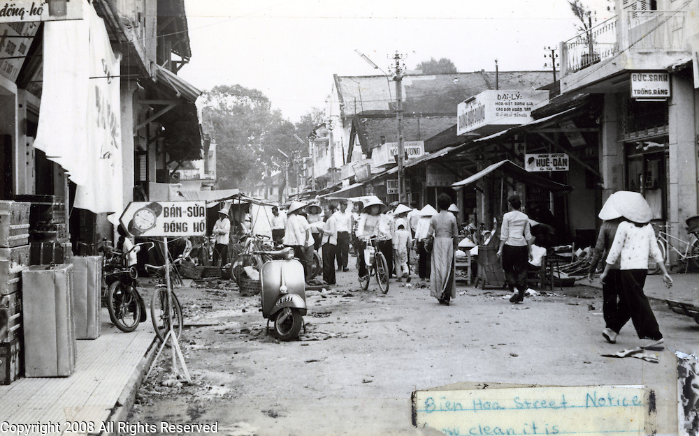 Street scene of Bien Hoa, Vietnam in 1965 taken by a U.S. soldier of the 173rd Airborne Bridgade which was one of the first American units fighting in Vietnam. The Brigade arrived in May 1965.