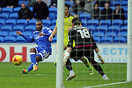 Cardiff City's Junior Hoilett shoots for goal as Rotherham 'keeper Richard O'Donnell (18) looks on. EFL Skybet championship match, Cardiff city v Rotherham Utd at the Cardiff city stadium in Cardiff, South Wales on Saturday 18th February 2017.<br /> pic by Carl Robertson, Andrew Orchard sports photography.