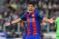 April 11, 2017 - Turin, Italy - LUIS SUAREZ of Barcelona reacts during UEFA Champions League Quarter Final action against Juventus. (Credit Image: © Italy Photo Press via ZUMA Press)