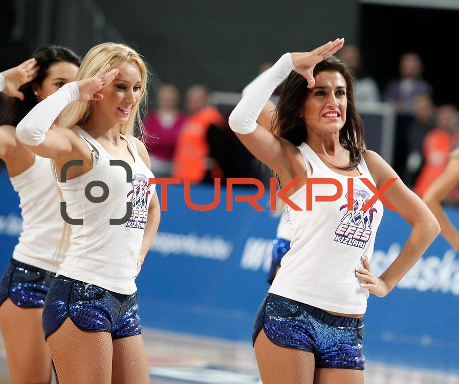 Anadolu Efes's show girls during their Turkish Basketball League match Anadolu Efes between Pinar Karsiyaka at Arena in Istanbul, Turkey, Saturday, November 26, 2011. Photo by TURKPIX