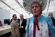 ALEXANDER LEBEDEV; EVEGENY LEBEDEV; GRAYSON PERRY, Opening of Frieze 2009. Regent's Park. London. 14 October 2009 *** Local Caption *** -DO NOT ARCHIVE-© Copyright Photograph by Dafydd Jones. 248 Clapham Rd. London SW9 0PZ. Tel 0207 820 0771. www.dafjones.com.<br /> ALEXANDER LEBEDEV; EVEGENY LEBEDEV; GRAYSON PERRY, Opening of Frieze 2009. Regent's Park. London. 14 October 2009
