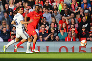 Julio Llorente of Real Madrid legends team and Phil Babb of Liverpool legends team (r)  in action. Liverpool Legends  v Real Madrid Legends, Charity match for the LFC Foundation at the Anfield stadium in Liverpool, Merseyside on Saturday 25th March 2017.<br /> pic by Chris Stading, Andrew Orchard sports photography.