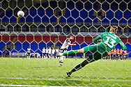 Bolton Wanderers defender Jordan Boon take a penalty during the penalty shoot-out only to catch the crossbar during the EFL Trophy match between Bolton Wanderers and Bradford City at the University of  Bolton Stadium, Bolton, England on 3 September 2019.
