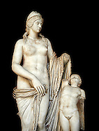 2nd century Roman statue of Venus known as the Venere Felice, inspired by the Hellenistic stsue of Aphrodite of Cnidus made by Greek sculptor Praixiteles in the 4th century BC. Possibly a Venus's face is a portrait of Sallustia who dedicated the statue with Helpidus, and the Eros may be a portrait of her young son. inv 129, Vatican Museum Rome, Italy,  black background ..<br /> <br /> If you prefer to buy from our ALAMY STOCK LIBRARY page at https://www.alamy.com/portfolio/paul-williams-funkystock/greco-roman-sculptures.html . Type -    Vatican    - into LOWER SEARCH WITHIN GALLERY box - Refine search by adding a subject, place, background colour, museum etc.<br /> <br /> Visit our CLASSICAL WORLD HISTORIC SITES PHOTO COLLECTIONS for more photos to download or buy as wall art prints https://funkystock.photoshelter.com/gallery-collection/The-Romans-Art-Artefacts-Antiquities-Historic-Sites-Pictures-Images/C0000r2uLJJo9_s0c