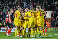 Lazar Markovic scores Liverpool 2nd goal during the Capital One Cup match between Bournemouth and Liverpool at the Goldsands Stadium, Bournemouth, England on 17 December 2014.