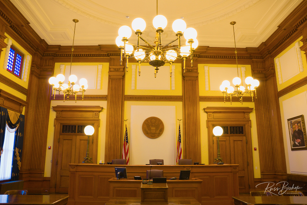 Courtroom in the Pioneer Courthouse (National Historic Landmark), Portland, Oregon