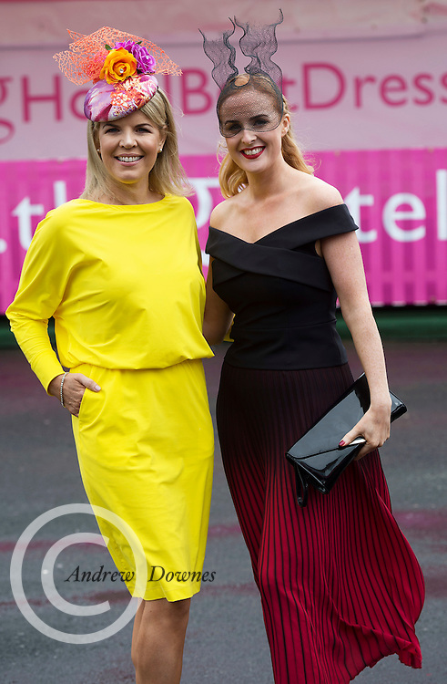 28/07/2016 repro free  <br /> <br /> Fashionista Maretta Doran and Triona Barrett, General Manager of the g Hotel at The g Hotel Best Dressed competitions on Ladies day of The Galway Races . Photo:Andrew Downes, xposure