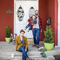 home, lifestyle, family, porch, christmas, holiday, decorations, door, tree, lights, parents, child