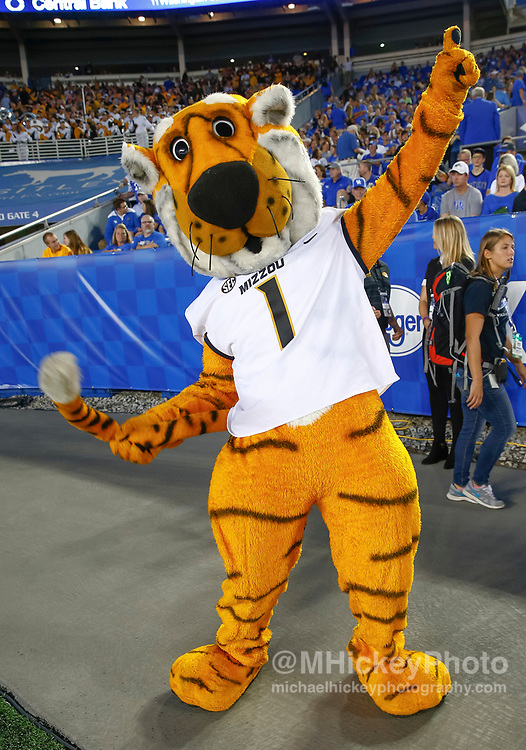 LEXINGTON, KY - OCTOBER 07: The Missouri Tigers mascot is seen during the game against the Kentucky Wildcats at Commonwealth Stadium on October 7, 2017 in Lexington, Kentucky. (Photo by Michael Hickey/Getty Images)