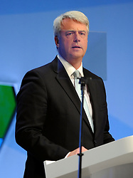 © Licensed to London News Pictures. 04/10/2011. MANCHESTER. UK. The Rt Hon Andrew Lansley CBE MP, Secretary of State for Health addresses The Conservative Party Conference at Manchester Central today, October 4, 2011. Photo credit:  Stephen Simpson/LNP