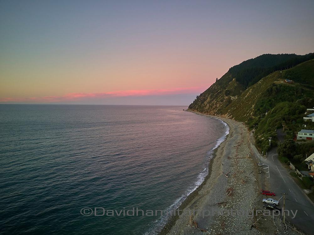 Sunset over Nelson Coast above the bolder bank