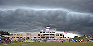 The game between the Kansas State Wildcats and the Central Florida Knights is suspended by thunder and lighting storms in the area at Bill Snyder Family Stadium in Manhattan, Kansas.