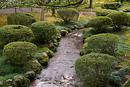 A stream lined with rocks and shrubs running through the Kenrokuen Garden, Kanazawa, Ishigawa, Japan