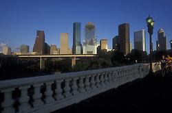 Houston, Texas skyline view from the Sabine Street bridge.