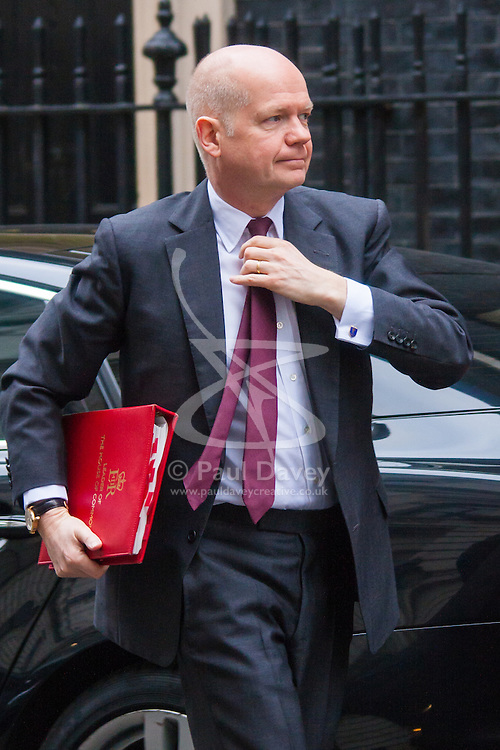 London, February 10th 2015. Ministers arrive at the weekly cabinet meeting at 10 Downing Street. PICTURED: William Hague MP, First Secretary of State, Leader of the House of Commons