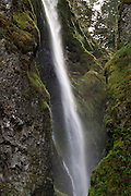 Upper tier of Wahclella Falls (350 feet two-tier plunge, with 60 foot-second tier), on Tanner Creek, Columbia River Gorge National Scenic Area, Oregon, USA.