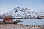 Fishing hut at Sommeroy, Kvaloya Island in Arctic Circle Northern Norway