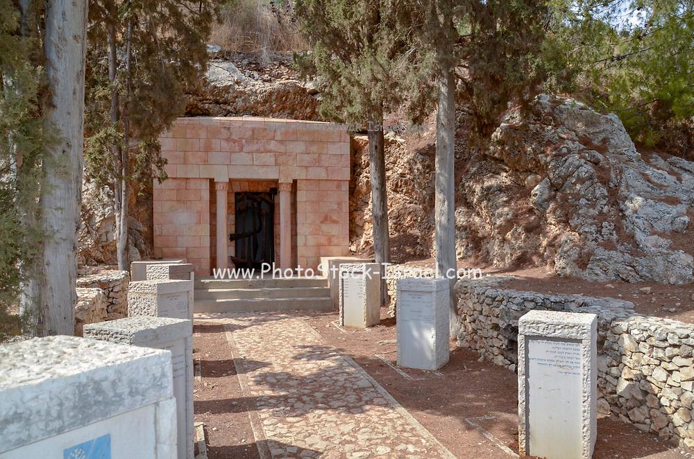 Israel, Jezreel Valley, Maayan Harod the Spring of Harod National Park. The tombs of Yehoshua and Olga Hankin