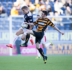 Falkirk's Alex Cooper and Alloa Athletic's Mark Docherty.<br /> Falkirk 2 v 1 Alloa Athletic, Scottish Championship game played 4/10/2014 at The Falkirk Stadium.