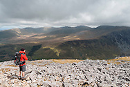 Views over the Nant Ffrancon valley to the Carneddau and Drosgl from Carnedd y Filiast