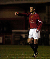 Photo: Jed Wee.<br /> Manchester United Reserves v Liverpool Reserves.<br /> 05/12/2005.<br /> <br /> Manchester United's Ole Gunnar Solskjaer makes his first appearance after a lengthy injury layoff.
