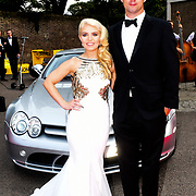 Emily Haig is a Soprano and Tom Thorne attends the 2018 Grand Prix Ball held at The Hurlingham Club on July 4, 2018 in London, England.