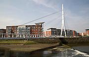 Sir Bobby Robson foot bridge crossing River Orwell, Ipswich, Suffolk, England, UK