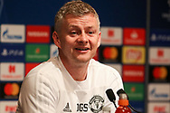 Manchester United interim Manager Ole Gunnar Solskjaer smiles during the Manchester United Press Conference ahead of the Champions League match between Paris Saint-Germain and Manchester United at Parc des Princes, Paris, France on 5 March 2019.