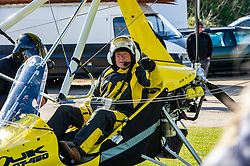 Pictured: <br />Scottish Liberal Democrat Leader Willie Rennie said that the Liberal Democrat campaign is reaching new heights as he delivered his final pre-election message to voters and took off in a microlight. Mr Rennie was piloted by Chief Flying instructor Gordon Douglas of East of Scotland Microlights while Instructor Graeme Ritchie piloted the phiotographers microlite reaching heights of 1500 feet over the Bass Rock<br />Ger Harley | EEm 5 May 2021