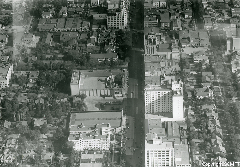 1938 Looking east down Hollywood Blvd. at Orange Dr.
