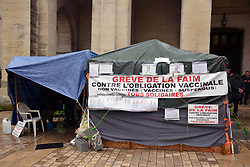 Anti-Covid vaccination protest - day 8 of a hunger strike, Perigueux, France 2021